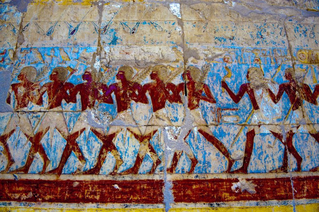 Wall painting in Chapel of Hathor at Mortuary Temple of Hatshepsut