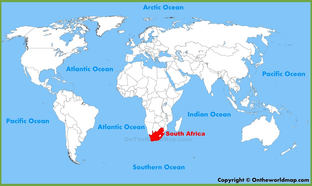 south africa on world map 101