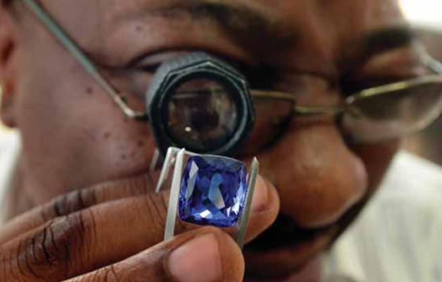Tanzanite Gem Stone from Mount Kilimanjaro in Tanzania, East Africa.
