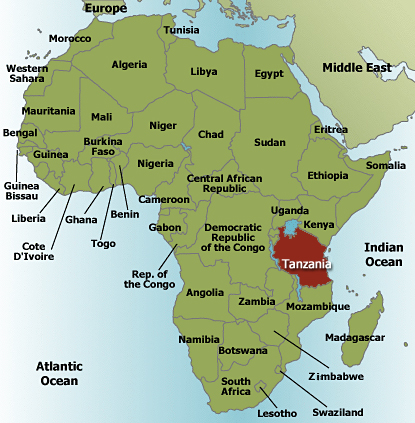 Tanzania On Africa Map.Tanzania East Africa Map Campinglifestyle