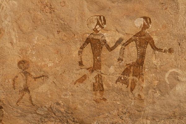 Algérie - Plateau du Tassili n'Ajjer - abri et peintures de Tan Zumaitak