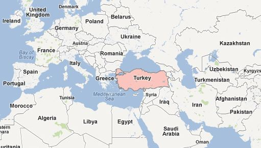turkey on world map