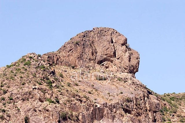 A2WB4H Lion shaped mountain rocks in Yeha northern Ethiopia Africa