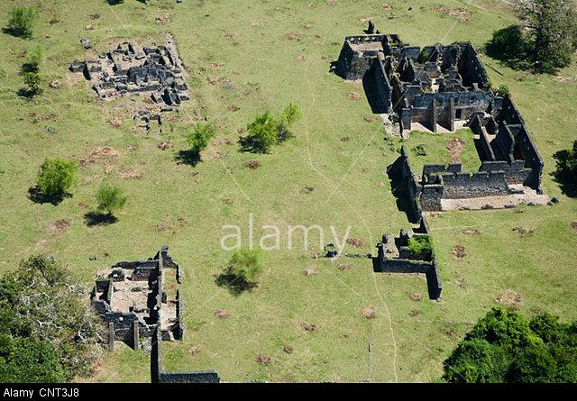 CNT3J8 Ruins of Kilwa Kisiwani, aerial view Lindi Region, Tanzania