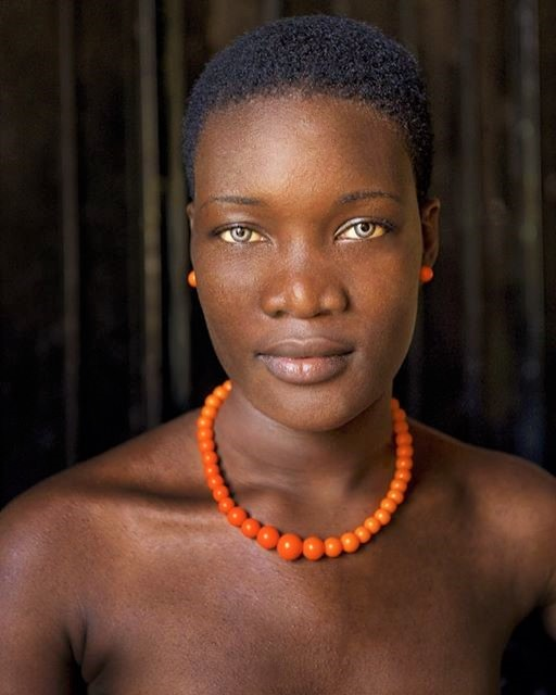 Woman with blue eyes in Port-au-Prince, Haiti