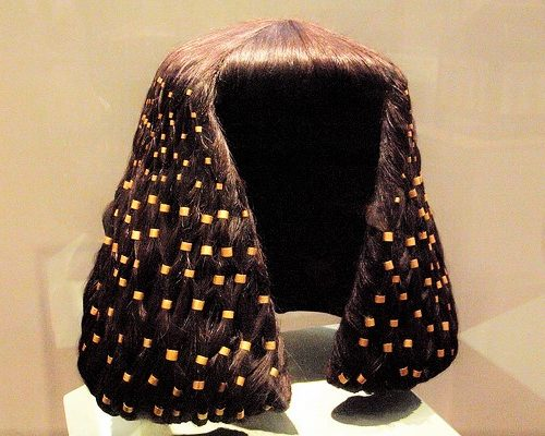 Elaborate Ancient Egyptian Wig With Hair Ornaments