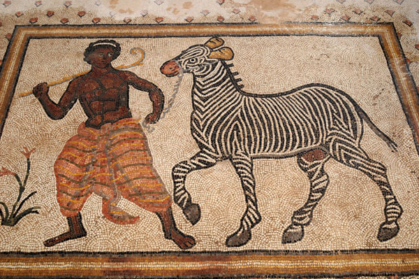 Black man leading zebra mosaic