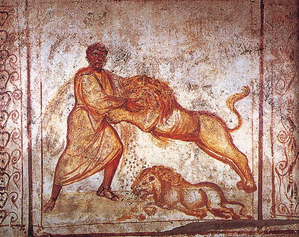Samson wrestling with the lions