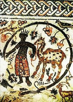 black man with camel mosaic