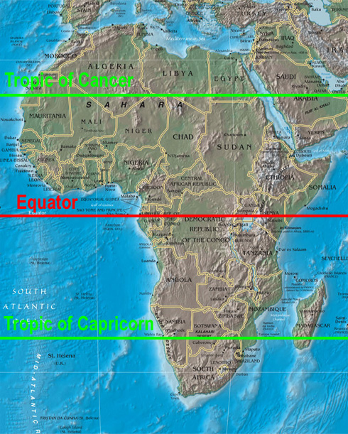 africa map equator