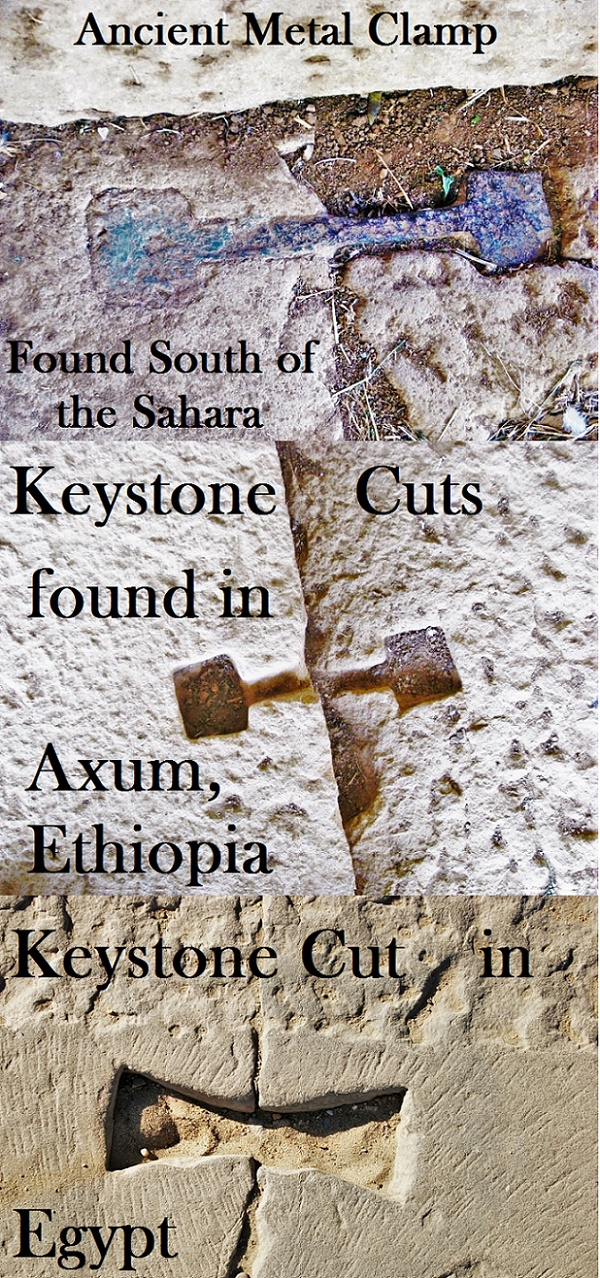 Ancient Metal Clamp & Keystone Cuts found in Axum, Ethiopia, South of the Sahara, Africa