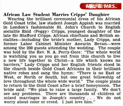 Ghanaian Chieftain Joe Appiah marries English woman Peggy Cripps 05