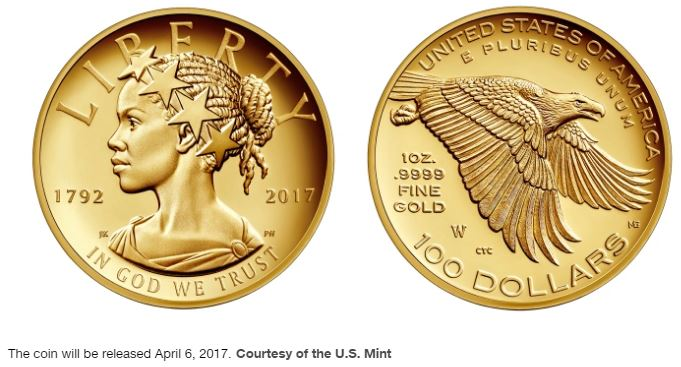 $100 Gold Coin Portrays Liberty as an African-American Woman?