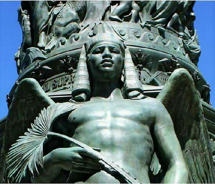 A Handsome Pharaoh With Wings Statue In Italy