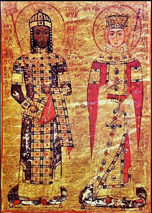 Byzantine Emperor Manuel I Komnenos and his second wife Maria of Antioch