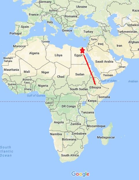 Early humans migrated out of Africa through Egypt rather than Ethiopia?